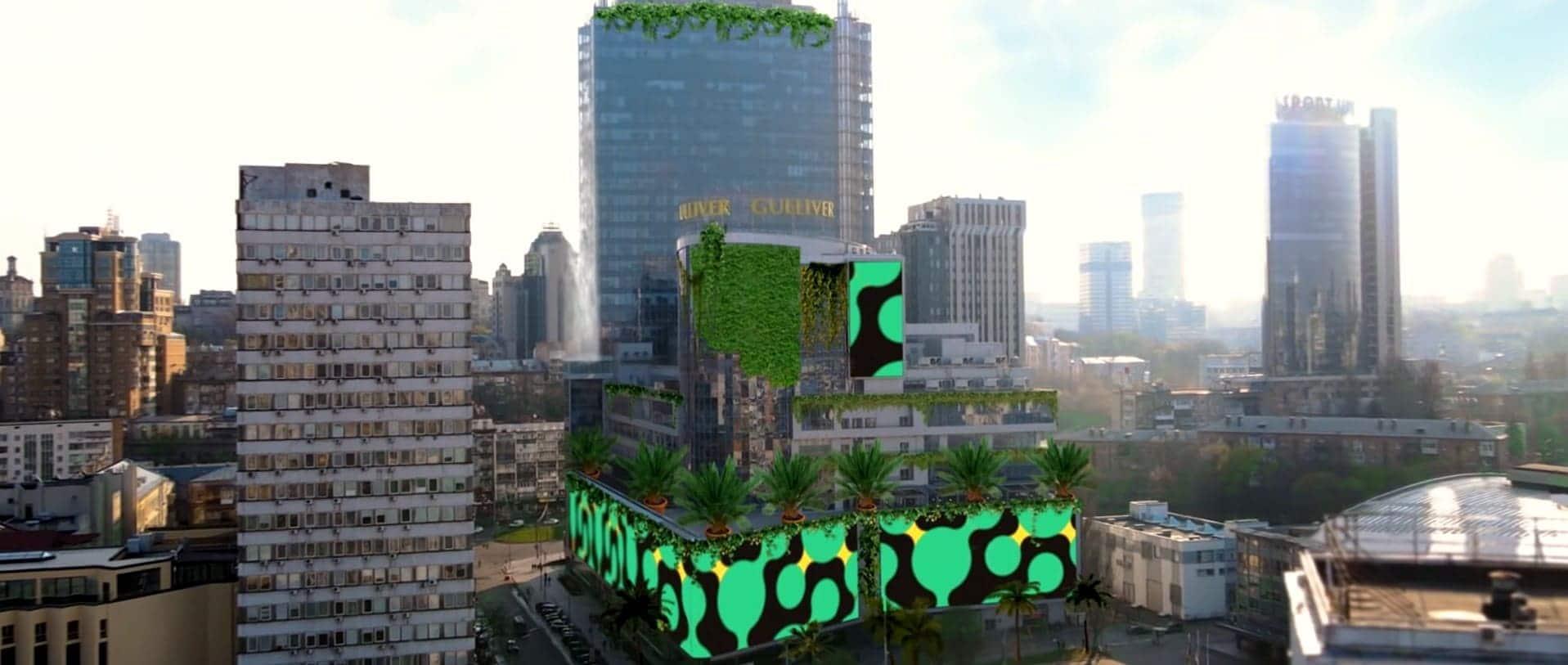 Промо-ролик від ТРЦ Gulliver з перетворенням фасаду в тропічному стилі